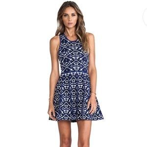 Parker Kaitlyn Blue Calypso Fit & Flare Dress